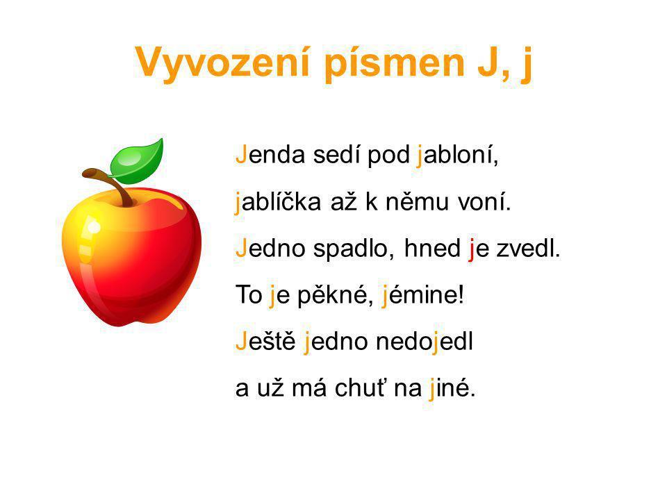 Vyvození písmen J, j Jenda sedí pod jabloní, jablíčka až k němu voní.