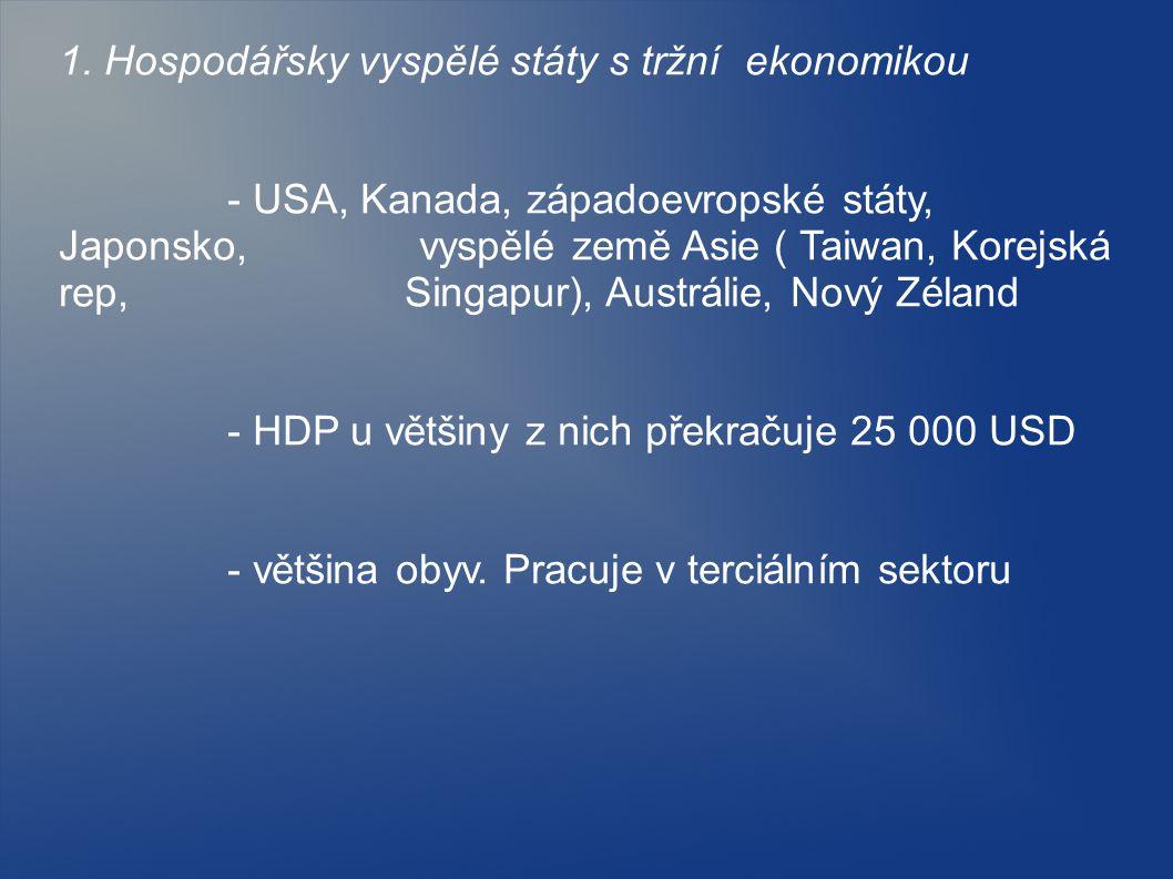 1. Hospodářsky vyspělé státy s tržní ekonomikou