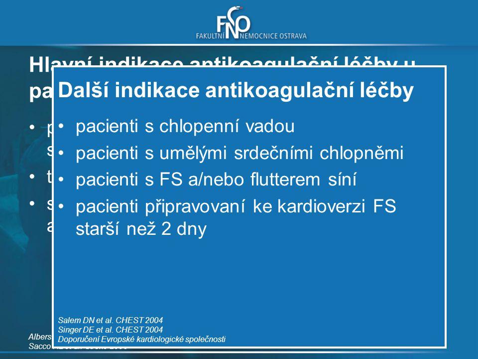 Další indikace antikoagulační léčby