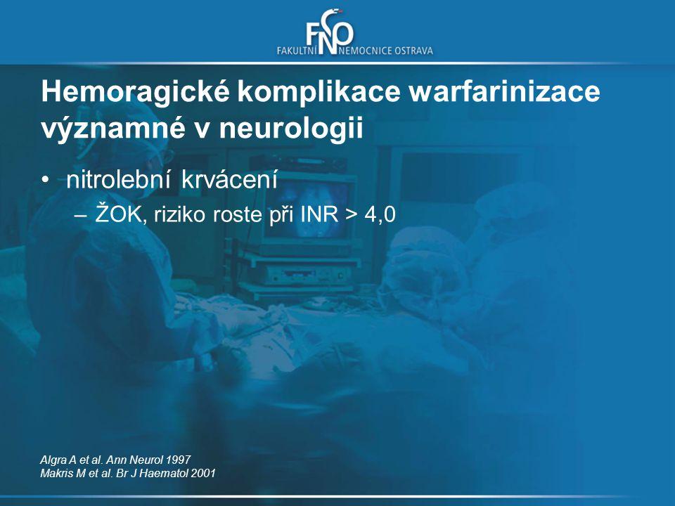 Hemoragické komplikace warfarinizace významné v neurologii
