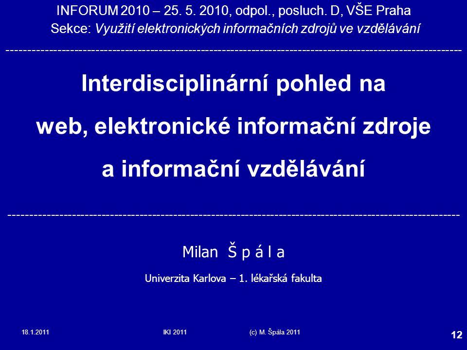 Interdisciplinární pohled na web, elektronické informační zdroje