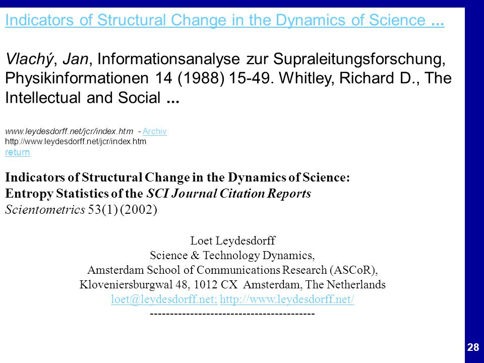 Indicators of Structural Change in the Dynamics of Science ...