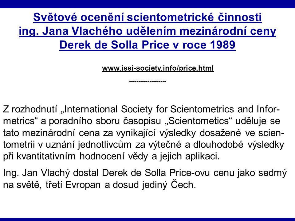 Světové ocenění scientometrické činnosti