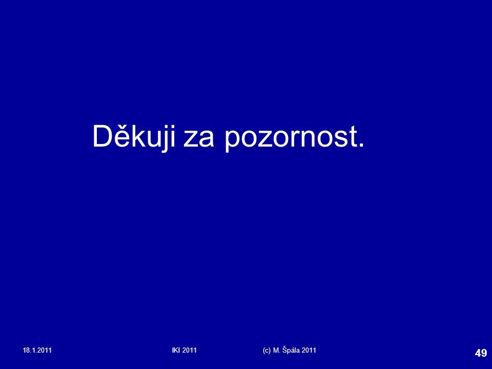 Děkuji za pozornost. 18.1.2011 IKI 2011 (c) M. Špála 2011