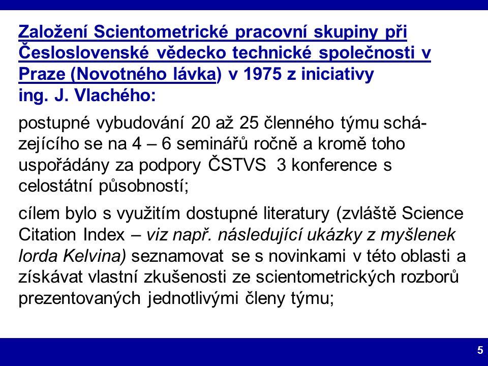 Založení Scientometrické pracovní skupiny při Česloslovenské vědecko technické společnosti v Praze (Novotného lávka) v 1975 z iniciativy ing. J. Vlachého: