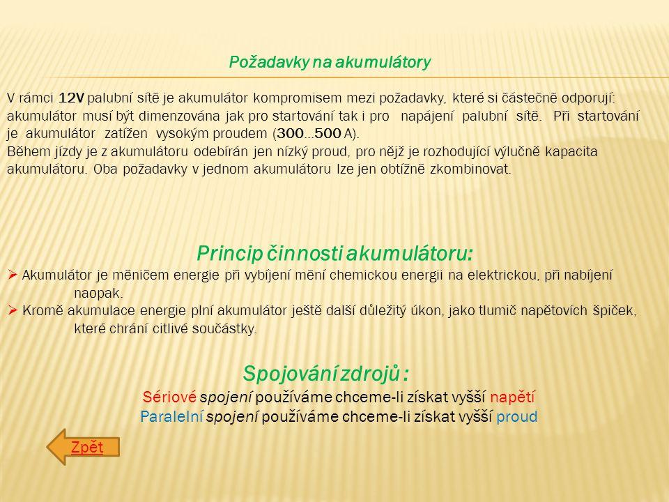 Požadavky na akumulátory Princip činnosti akumulátoru: