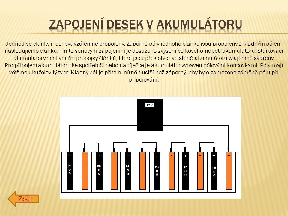 Zapojení desek v akumulátoru