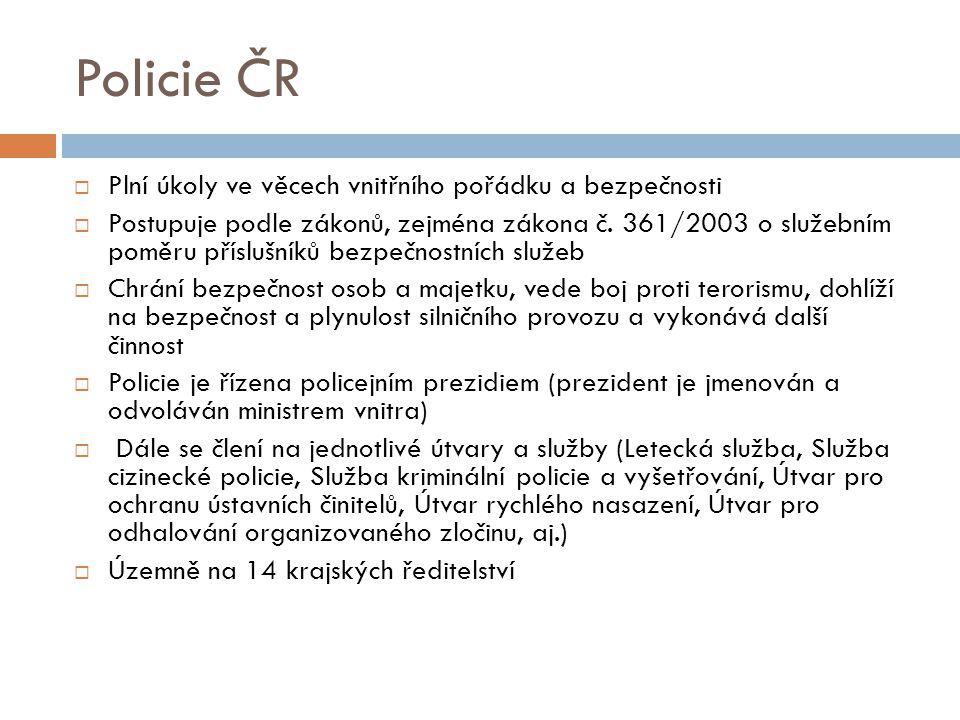 Policie ČR Plní úkoly ve věcech vnitřního pořádku a bezpečnosti