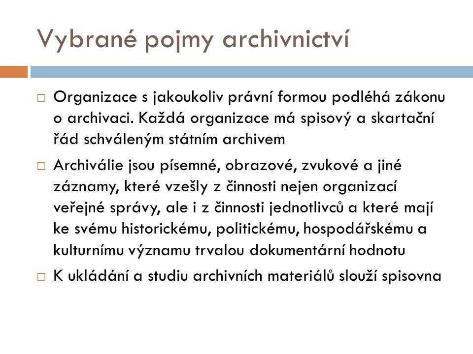 Vybrané pojmy archivnictví