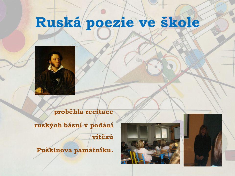 Ruská poezie ve škole proběhla recitace ruských básní v podání vítězů