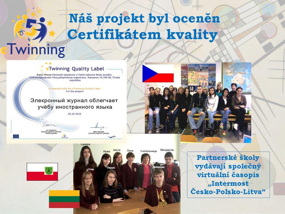 Náš projekt byl oceněn Certifikátem kvality