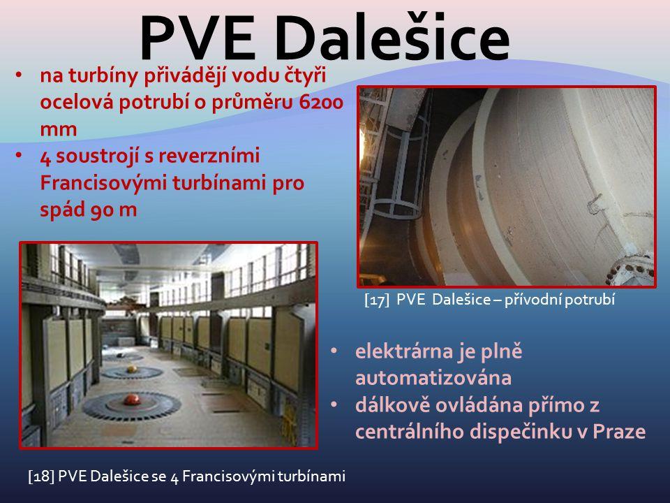 PVE Dalešice na turbíny přivádějí vodu čtyři ocelová potrubí o průměru 6200 mm. 4 soustrojí s reverzními Francisovými turbínami pro spád 90 m.