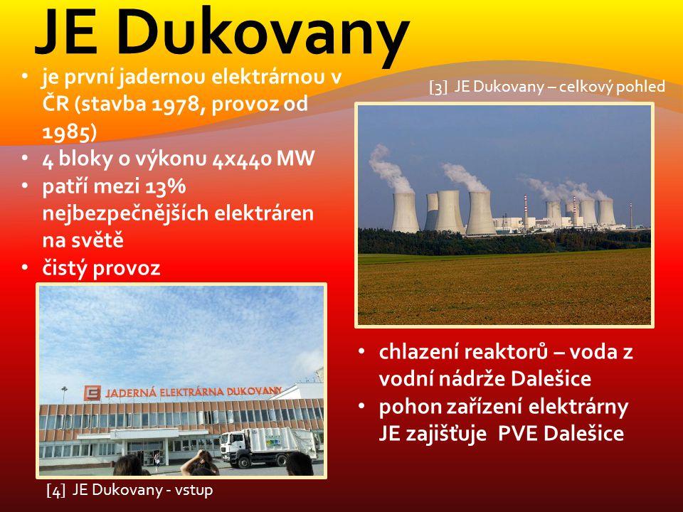 JE Dukovany je první jadernou elektrárnou v ČR (stavba 1978, provoz od 1985) 4 bloky o výkonu 4x440 MW.