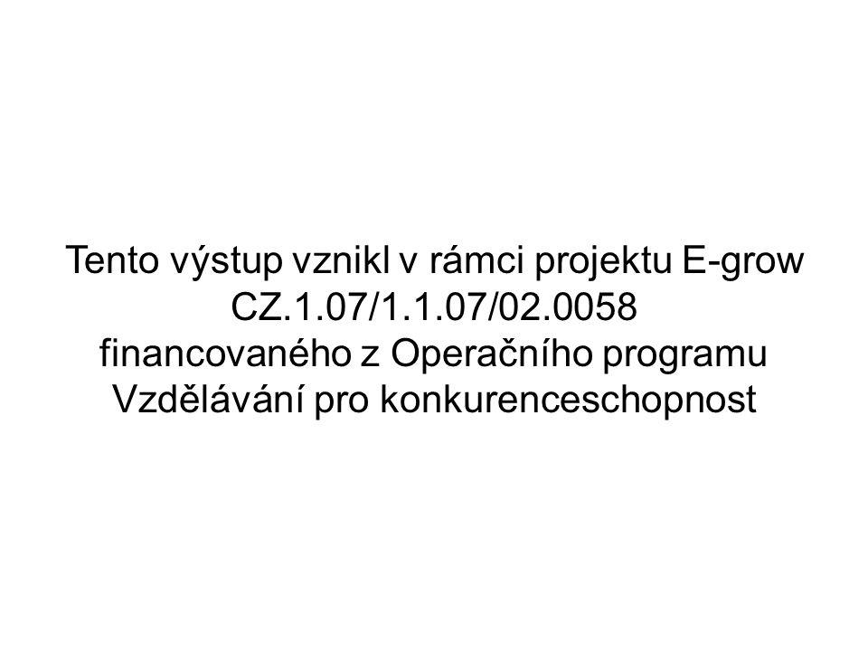 Tento výstup vznikl v rámci projektu E-grow CZ.1.07/1.1.07/02.0058