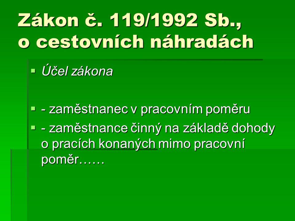 Zákon č. 119/1992 Sb., o cestovních náhradách