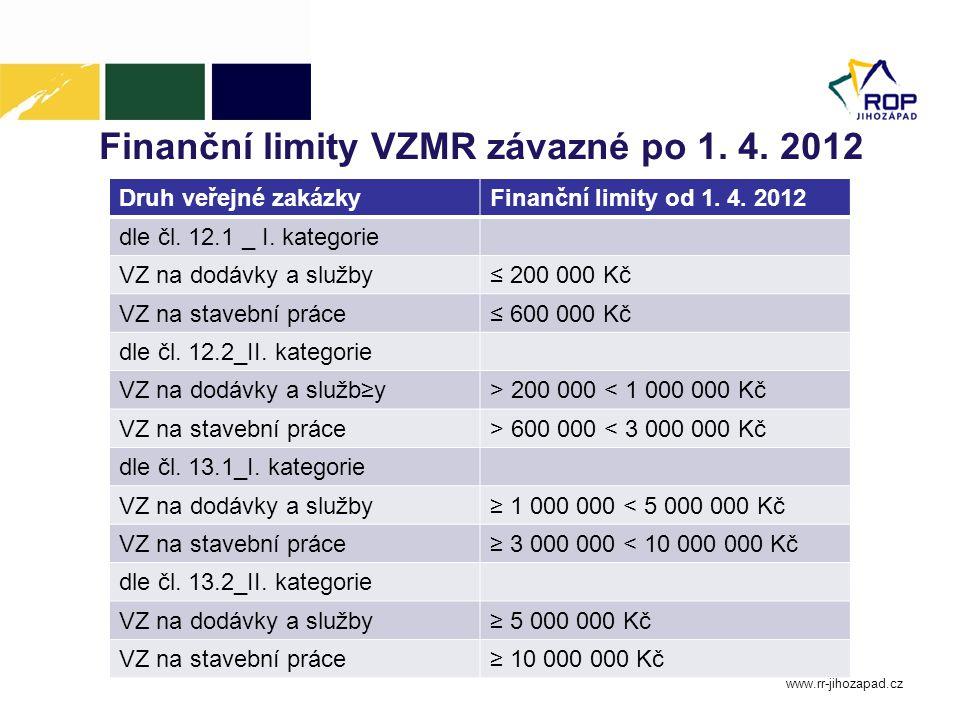 Finanční limity VZMR závazné po 1. 4. 2012