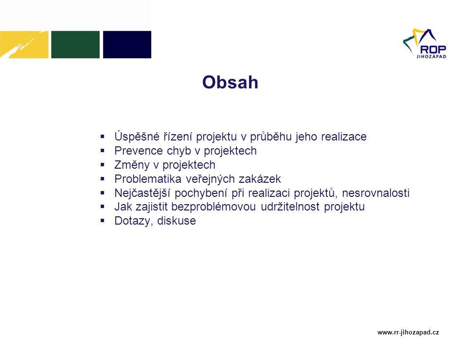 Obsah Úspěšné řízení projektu v průběhu jeho realizace