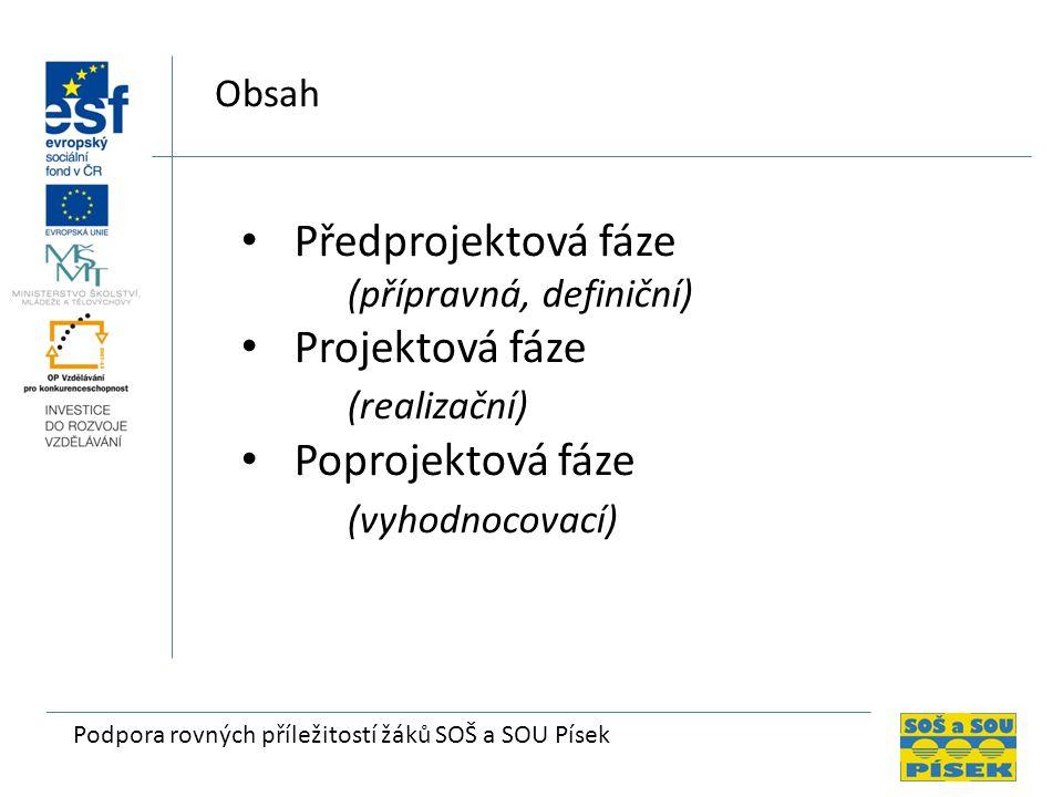 Předprojektová fáze Projektová fáze (realizační) Poprojektová fáze