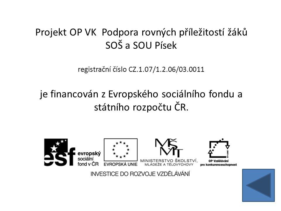 Projekt OP VK Podpora rovných příležitostí žáků SOŠ a SOU Písek registrační číslo CZ.1.07/1.2.06/03.0011 je financován z Evropského sociálního fondu a státního rozpočtu ČR.