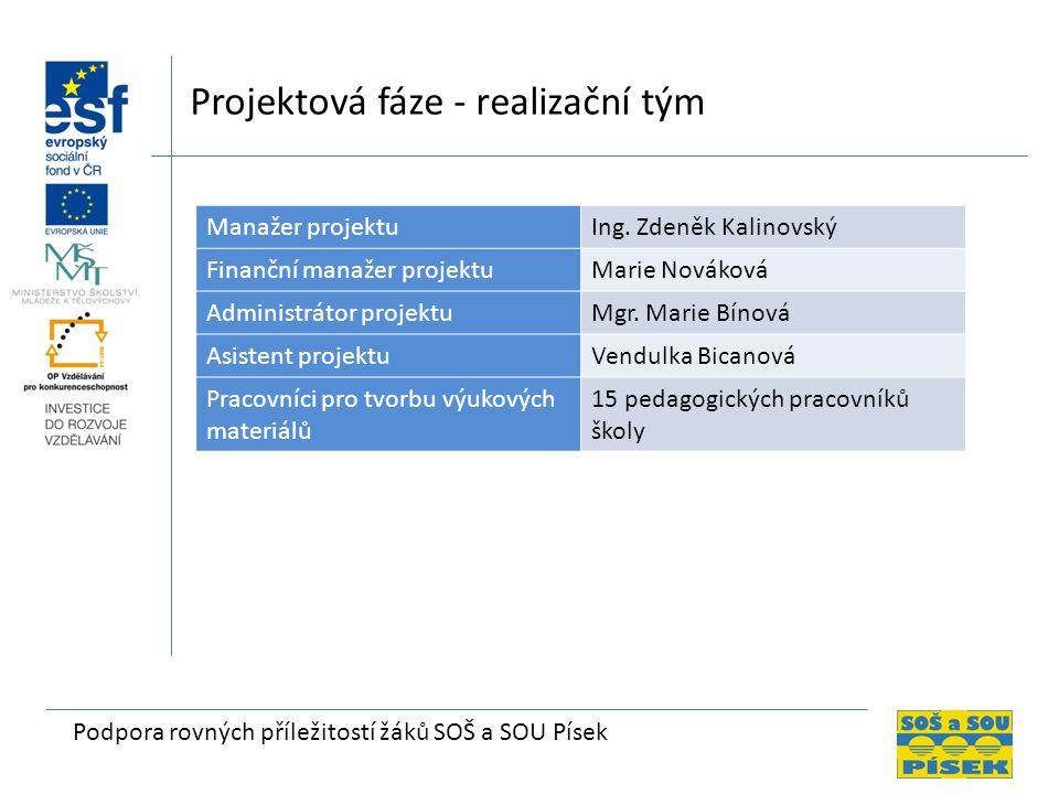 Projektová fáze - realizační tým