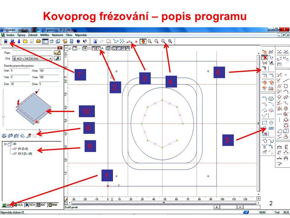 Kovoprog frézování – popis programu