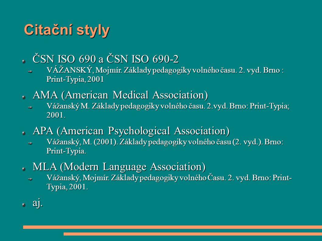 Citační styly ČSN ISO 690 a ČSN ISO 690-2