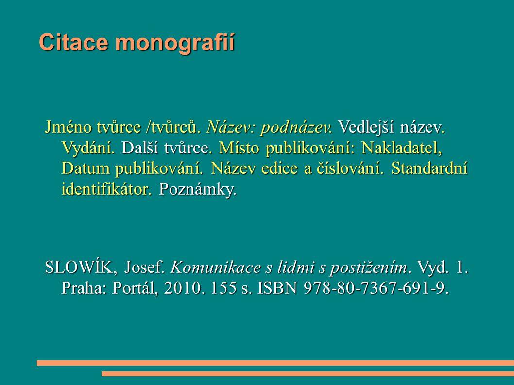 Citace monografií