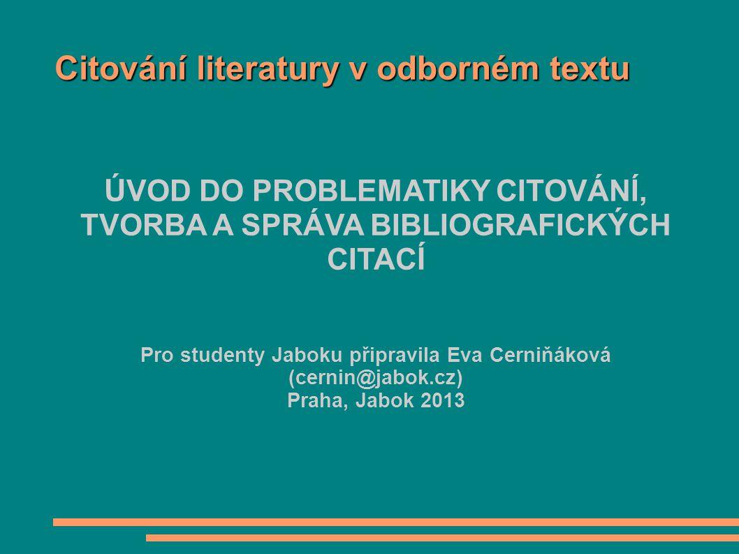Citování literatury v odborném textu