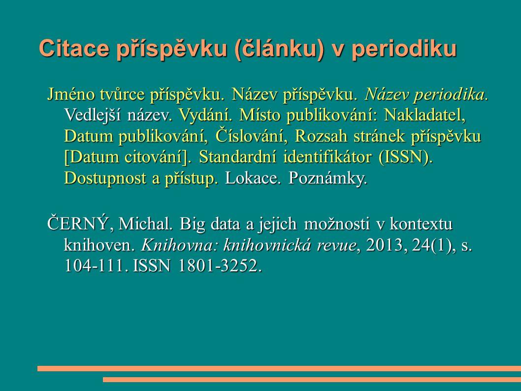 Citace příspěvku (článku) v periodiku