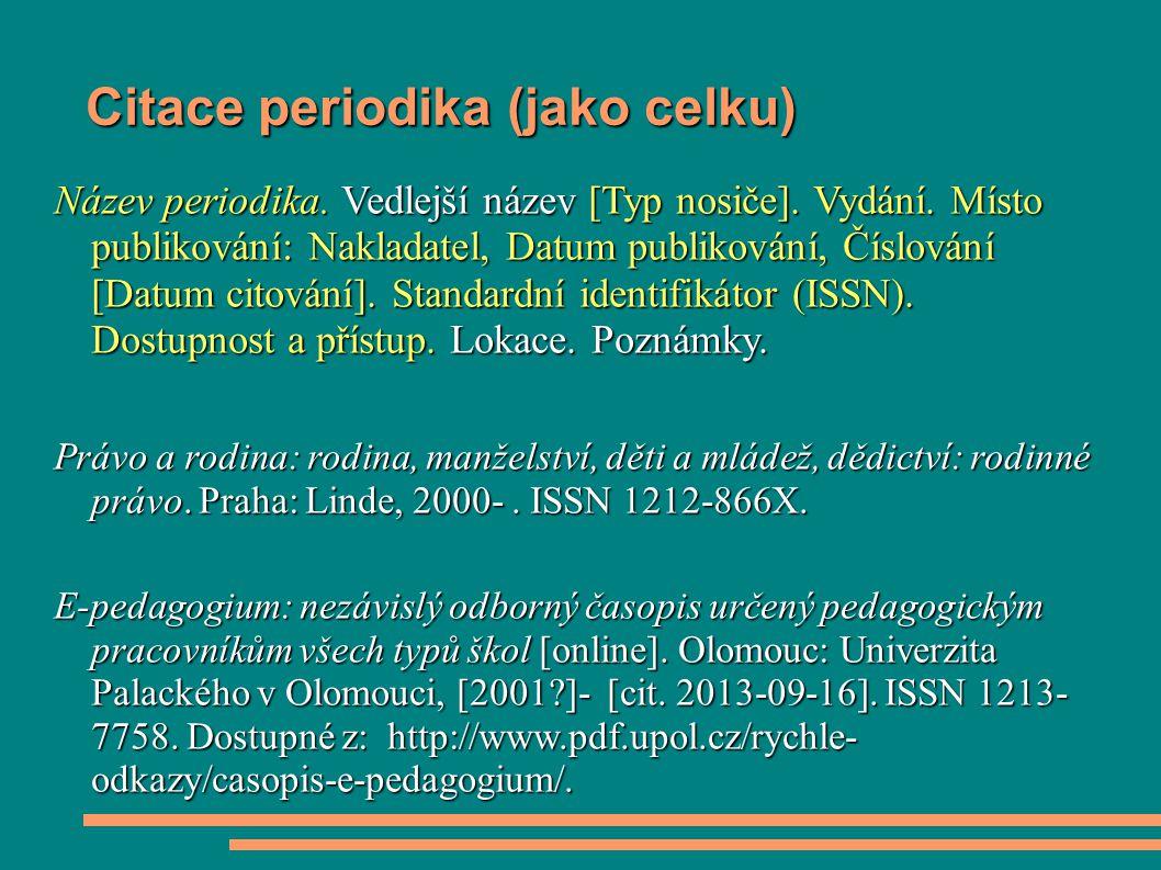 Citace periodika (jako celku)