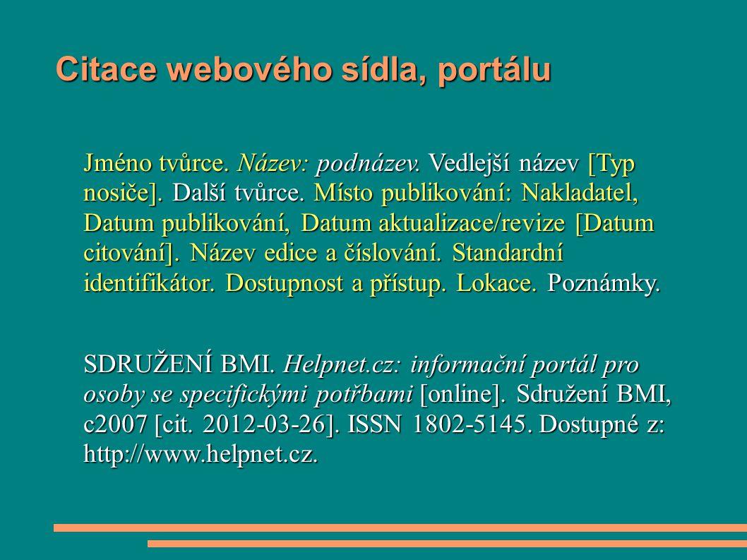 Citace webového sídla, portálu