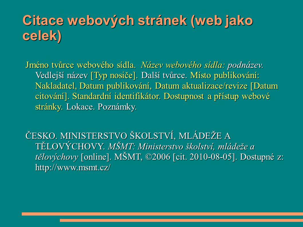 Citace webových stránek (web jako celek)