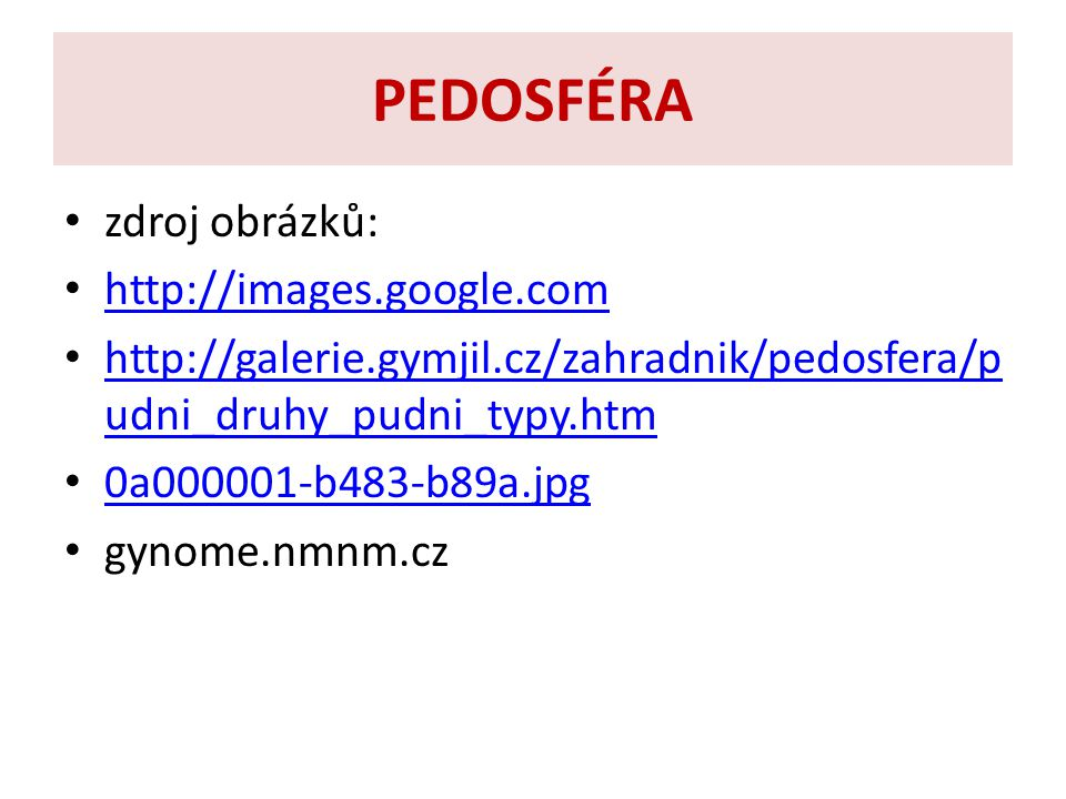 PEDOSFÉRA zdroj obrázků: http://images.google.com