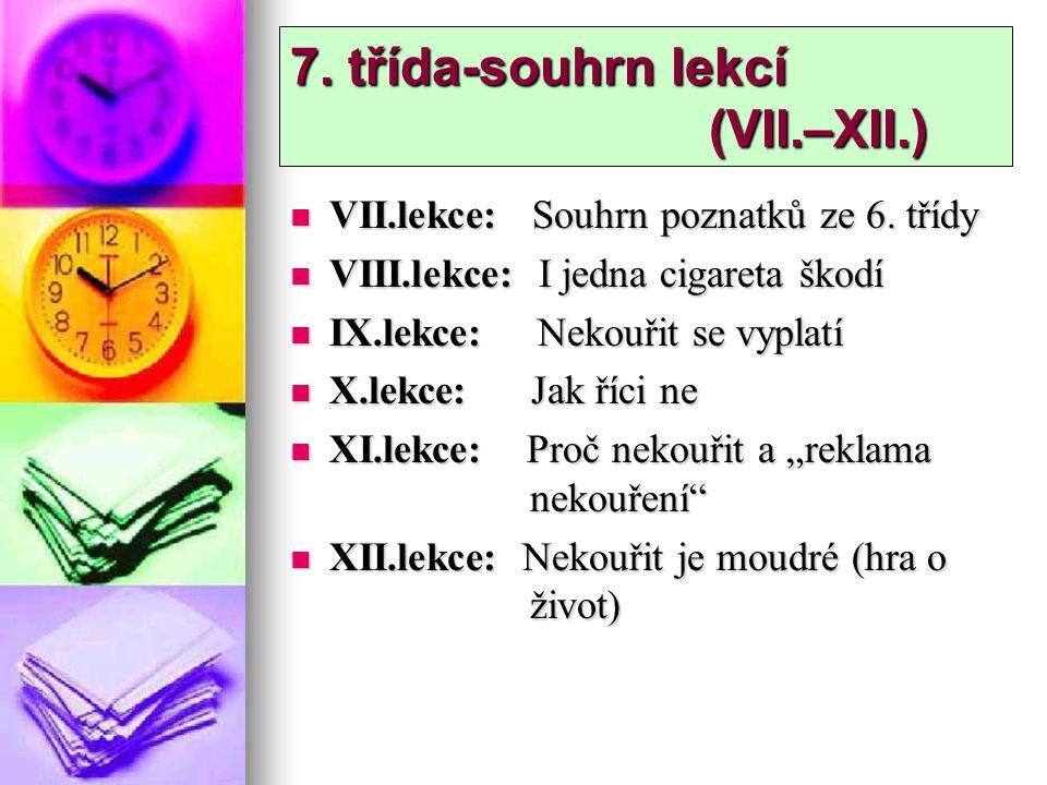 7. třída-souhrn lekcí (VII.–XII.)