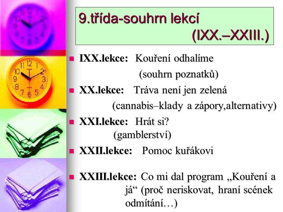 9.třída-souhrn lekcí (IXX.–XXIII.)