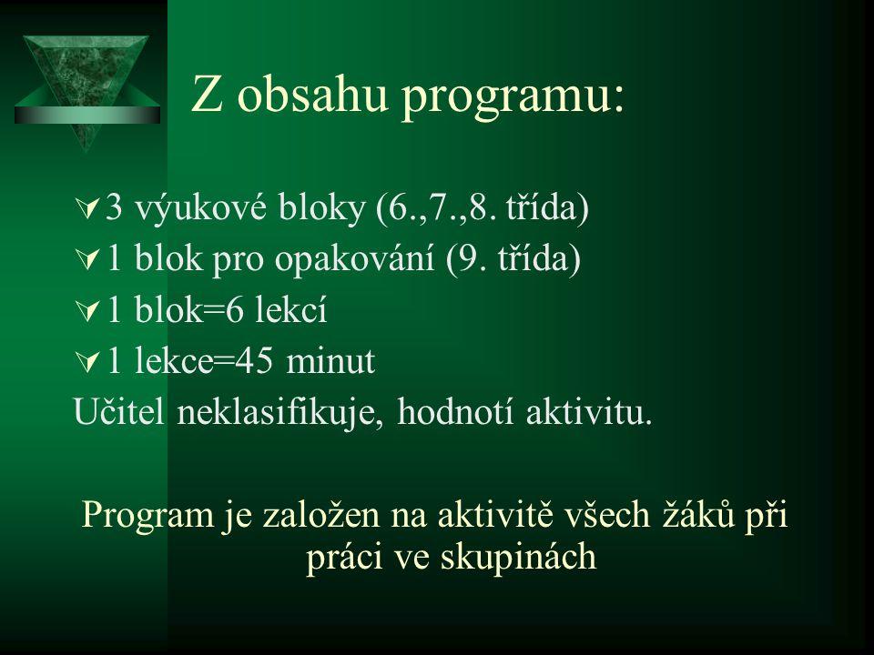 Program je založen na aktivitě všech žáků při práci ve skupinách