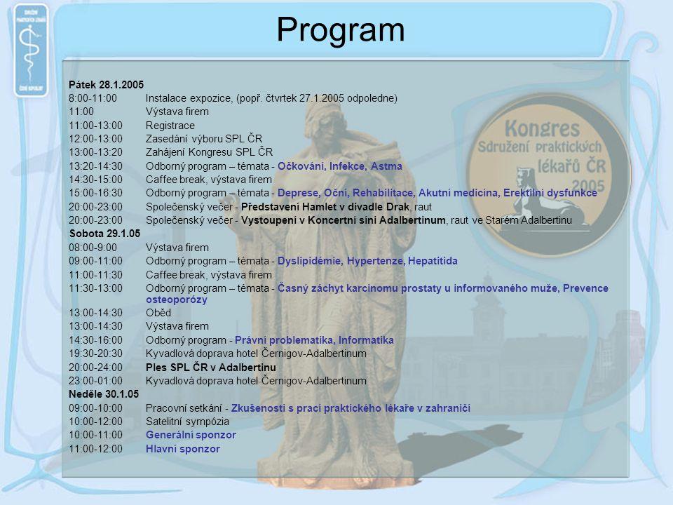 Program Pátek 28.1.2005. 8:00-11:00 Instalace expozice, (popř. čtvrtek 27.1.2005 odpoledne) 11:00 Výstava firem.