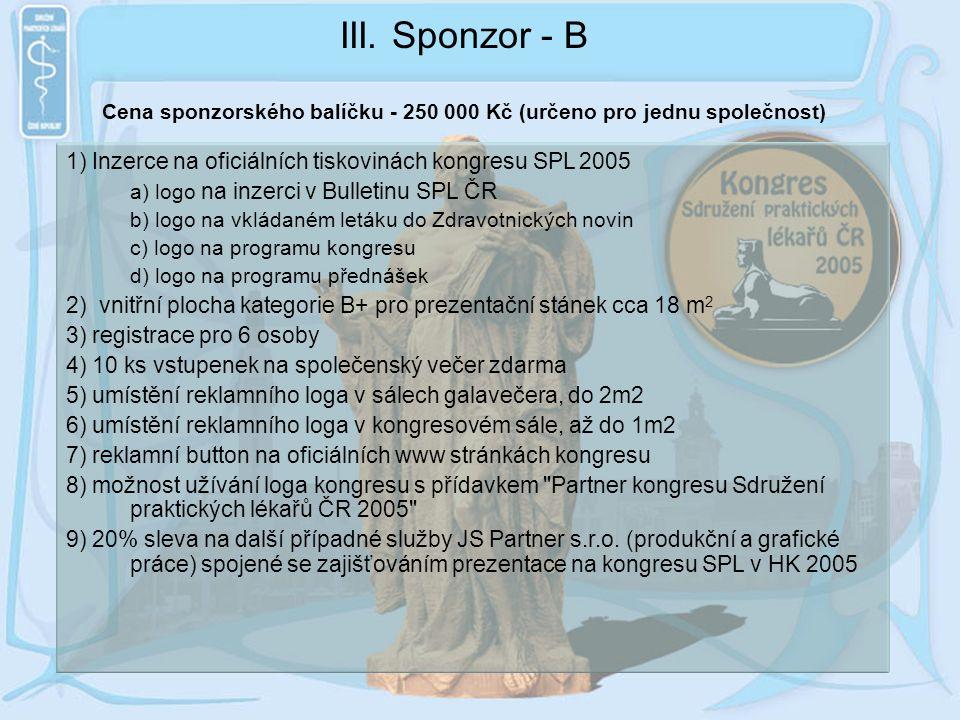 Cena sponzorského balíčku - 250 000 Kč (určeno pro jednu společnost)