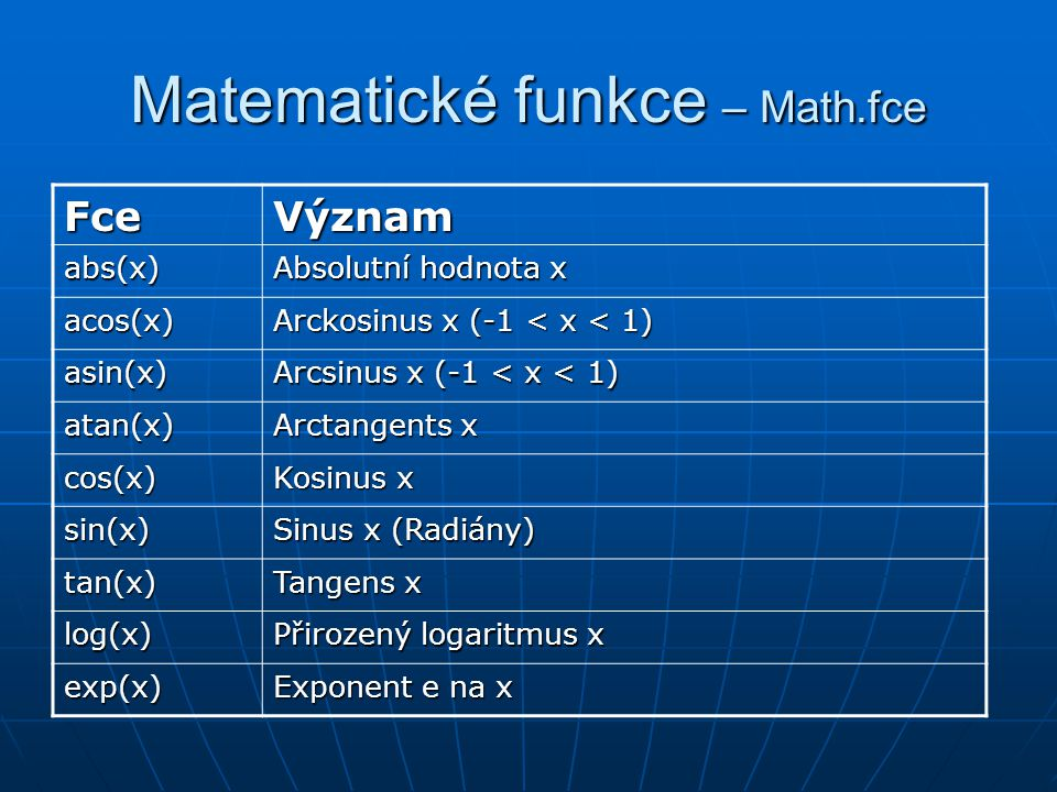 Matematické funkce – Math.fce