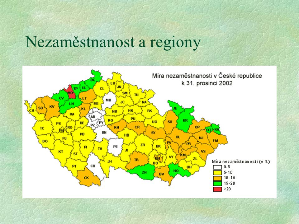 Nezaměstnanost a regiony