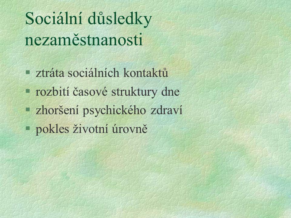 Sociální důsledky nezaměstnanosti