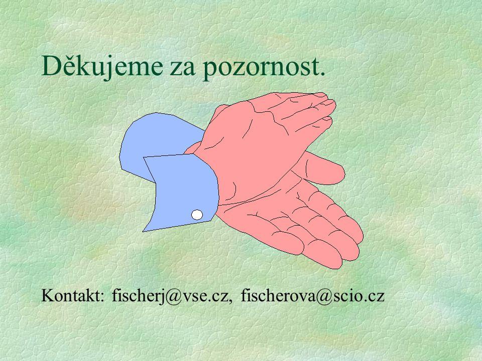 Děkujeme za pozornost. Kontakt: fischerj@vse.cz, fischerova@scio.cz
