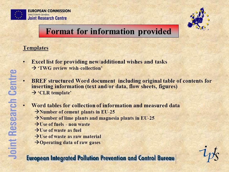 Format for information provided
