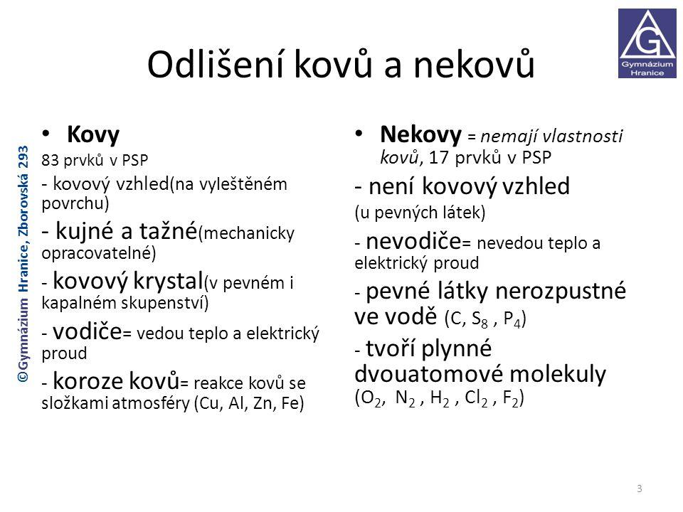 Odlišení kovů a nekovů Kovy - kujné a tažné(mechanicky opracovatelné)