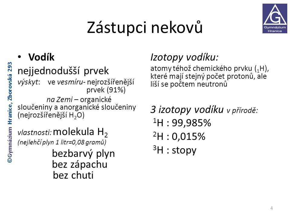 Zástupci nekovů Vodík nejjednodušší prvek Izotopy vodíku: