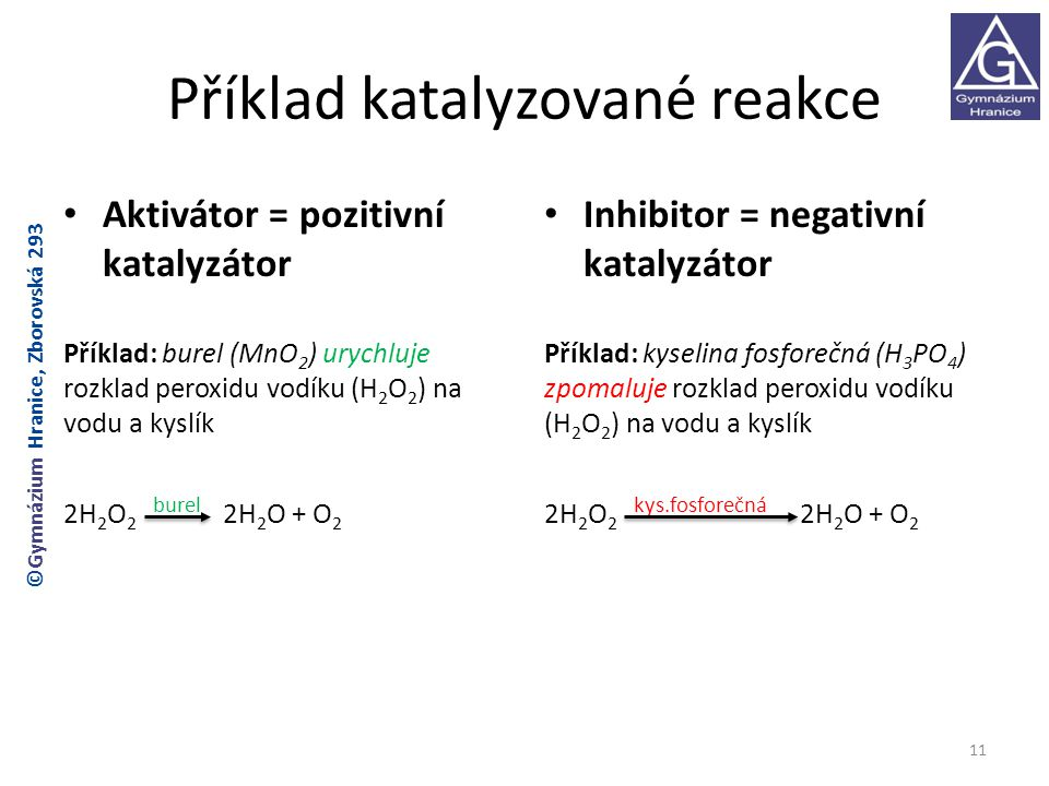 Příklad katalyzované reakce
