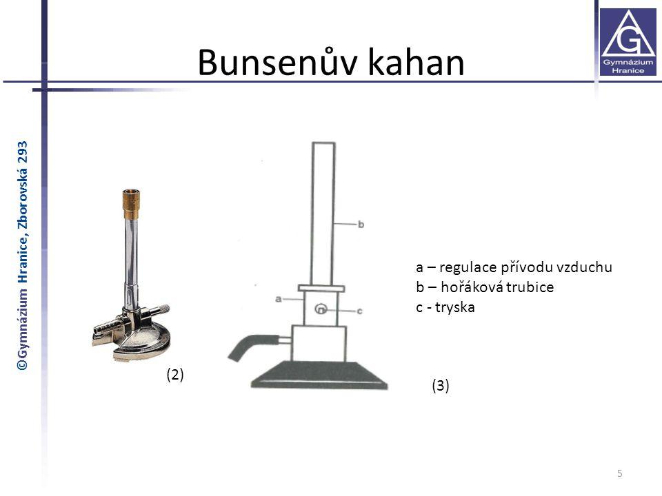 Bunsenův kahan a – regulace přívodu vzduchu b – hořáková trubice
