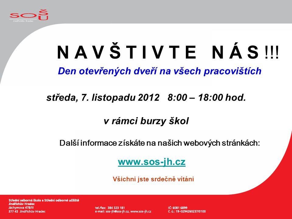 N A V Š T I V T E N Á S !!! Den otevřených dveří na všech pracovištích. středa, 7. listopadu 2012 8:00 – 18:00 hod.