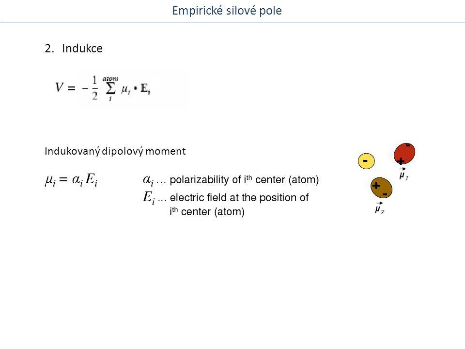 Empirické silové pole 2. Indukce Indukovaný dipolový moment