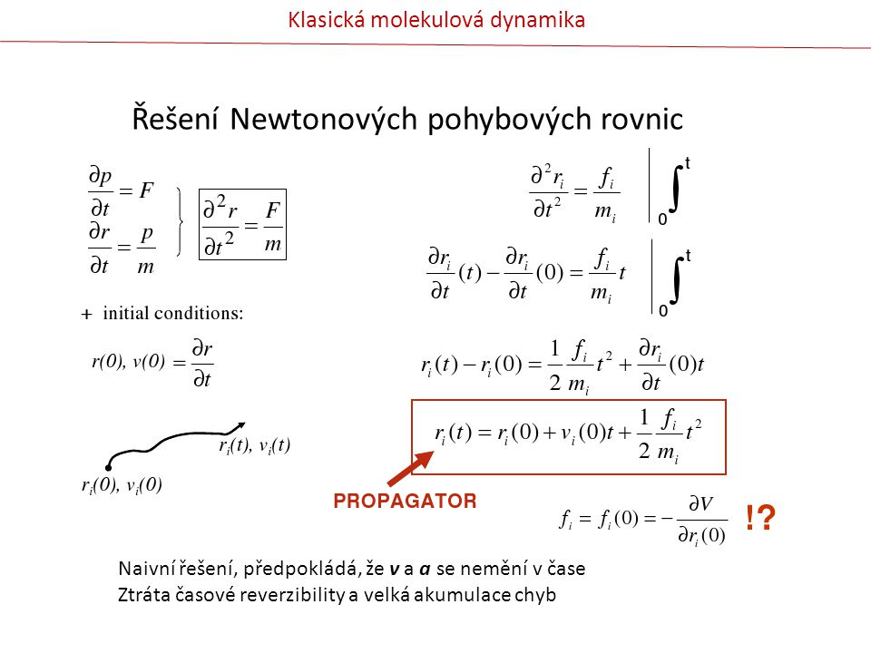 Řešení Newtonových pohybových rovnic